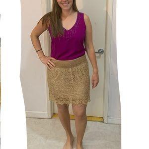 Dresses & Skirts - Tan flower lace skirt over gold slip